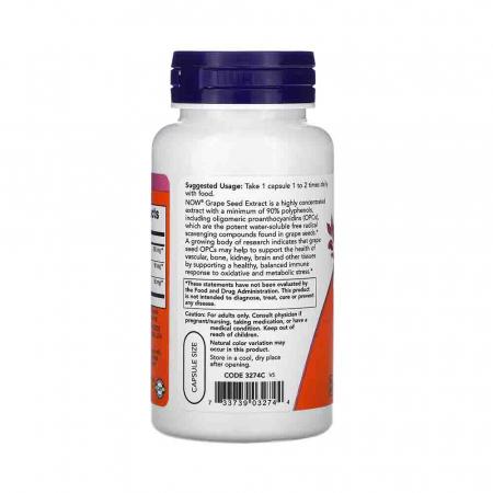 Grape Seed (Extract Seminte Struguri) 250mg, Now Foods, 90 capsule1