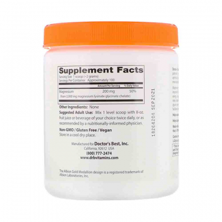 High Absorption Magnesium Chelated, Powder, Doctor's Best, 200g2