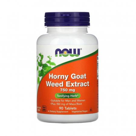 Horny Goat Weed Extract (Iarba Caprei), 750mg, Now Foods, 90 tablete0