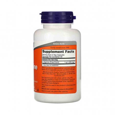 L-Arginine, 500mg, Now Foods, 100 capsule2