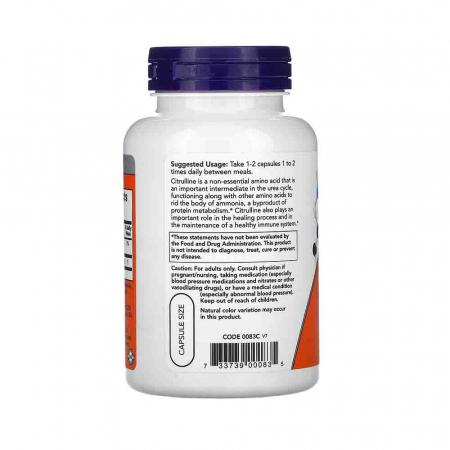 L-Citrulline, 750mg, Now Foods, 90 capsule1