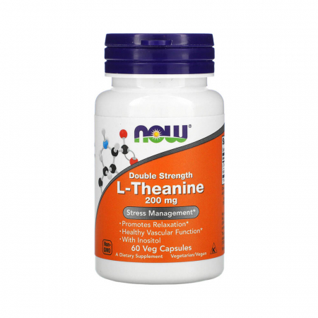 L-Theanine Double Strength cu Inositol, 200mg, Now Foods, 60 capsule0