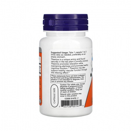 L-Theanine Double Strength cu Inositol, 200mg, Now Foods, 60 capsule1