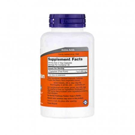 L-Tryptophan (Triptofan), 500mg, Now Foods, 60 capsule2