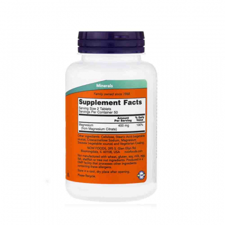 Magnesium Citrate 200mg, Now Foods2