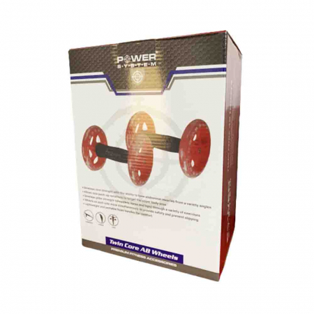 Manere cu roti pentru exercitii, Twin Core AB Wheel, Power System, Cod: 40656