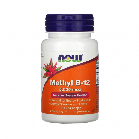 Methyl B-12 Methylcobalamin plus Folate, 5000mcg, Now Foods, 120 drajeuri0