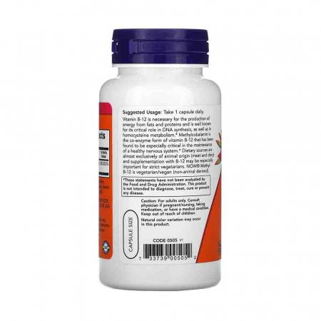 Methyl B-12 (Vitamina B12), 5000 mcg, Now Foods, 90 capsule1