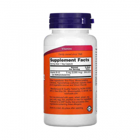 Methyl B-12 (Vitamina B12), 5000 mcg, Now Foods, 90 capsule2