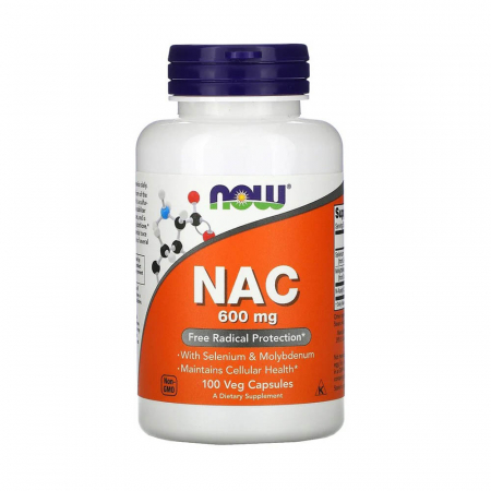 NAC, N-Acetyl Cysteine 600 mg, Selenium, Molybdenum, Now Foods,100 capsule0