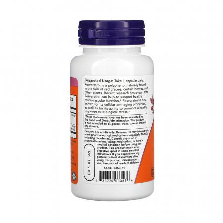 Natural Resveratrol, 200mg, Now Foods, 60 capsule1