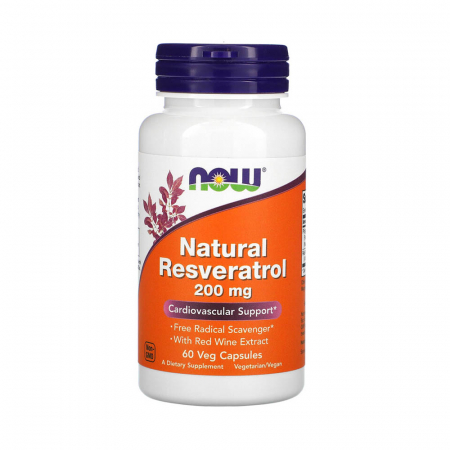 Natural Resveratrol, 200mg, Now Foods, 60 capsule0