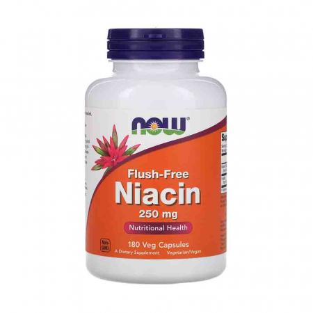 Niacin Flush-Free (Nicotinatul de Inozitol), 250mg, Now Foods, 180 capsule0