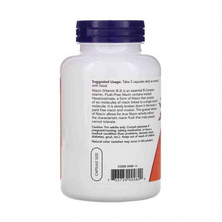 Niacin Flush-Free (Nicotinatul de Inozitol), 250mg, Now Foods, 180 capsule1