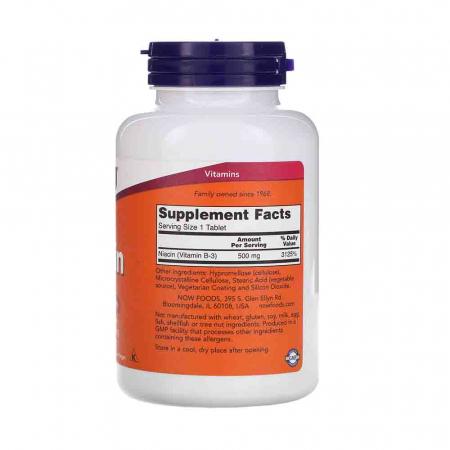 Niacin Vitamina B3 (Niacina), 500mg, Now Foods2
