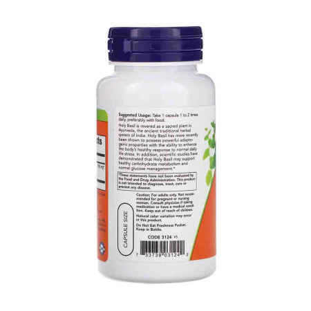 Holy Basil Extract (Busuioc Sfant), 500 mg, Now Foods, 90 capsule1