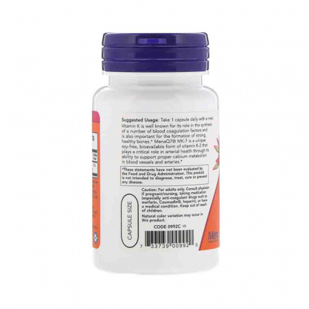 Vitamina K-2 MK-7, 100 mcg, Now Foods, 60 capsule1