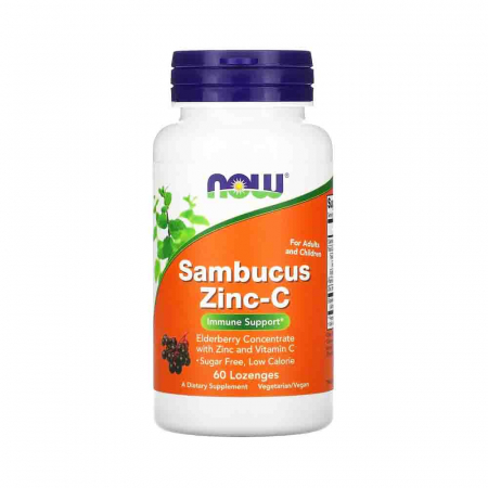 Sambucus Zinc-C (Extract de Soc), Now Foods, 60 drajeuri0