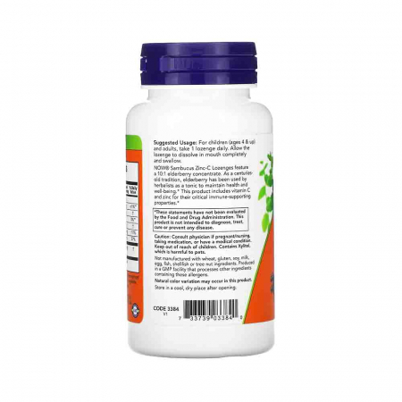 Sambucus Zinc-C (Extract de Soc), Now Foods, 60 drajeuri1