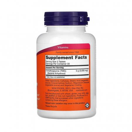 TMG, (Trimethylglycine) 1000 mg, Now Foods, 100 tablete2