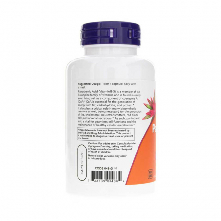 Pantothenic Acid (Vitamina B5), 500mg , Now Foods, 100 capsule1