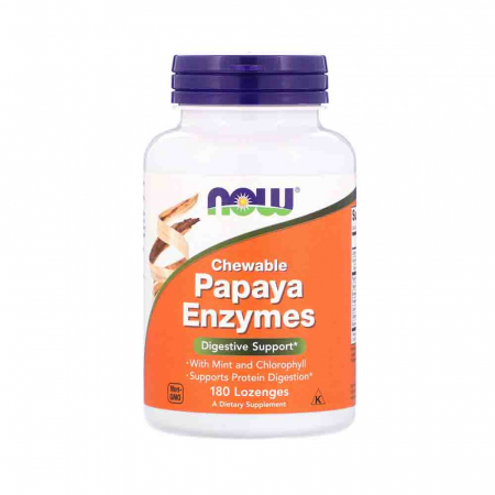 Papaya Enzymes, Now Foods, 180 comprimate0