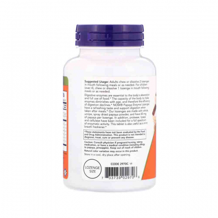 Papaya Enzymes, Now Foods, 180 comprimate1