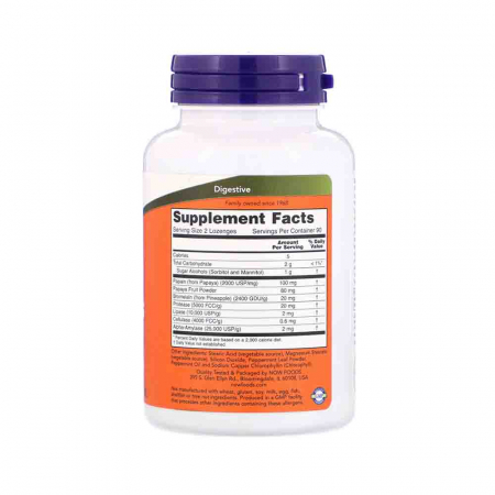 Papaya Enzymes, Now Foods, 180 comprimate2