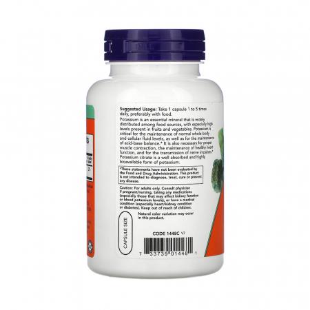 Potassium Citrate (Potasiu), 99mg, Now Foods, 180 capsule1