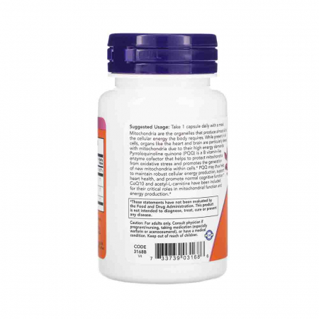 PQQ Energy 20mg with B12 and CoQ10, Now Foods, 30 capsule1