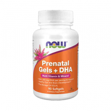 Prenatal Gels + DHA (Vitamine Prenatale) Now Foods, 90 softgels