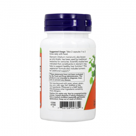 Silimarina, Milk Thistle Extract with Turmeric, 150 mg, Now Foods, 60 capsule1