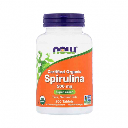 Spirulina Certificata Organic, 500mg, Now Foods, 200 tablets0