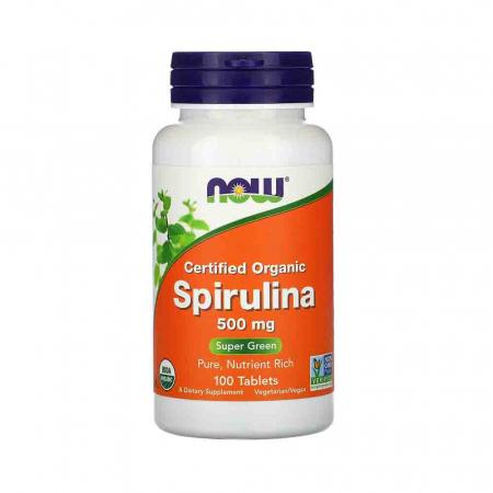 Spirulina Certificata Organic, 500 mg, Now Foods, 100 tablete0
