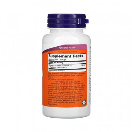 Ubiquinol (Active CoQ10), 100mg, Now Foods, 60 softgels2
