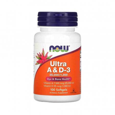 Ultra A & D3, 25.000/1.000, Now Foods, 100 softgels0