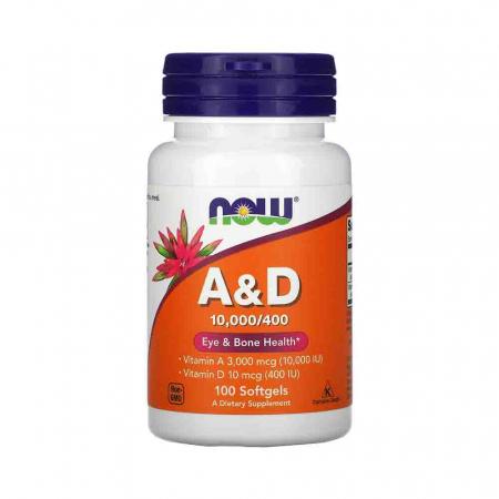 Vitamins A&D, 10000/400 IU, Now Foods, 100 softgels0