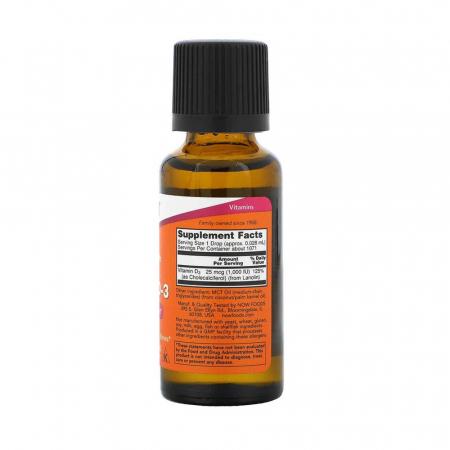 Vitamin D-3 Liquid, 1000 IU (Extra Strength), Now Foods, 30ml2