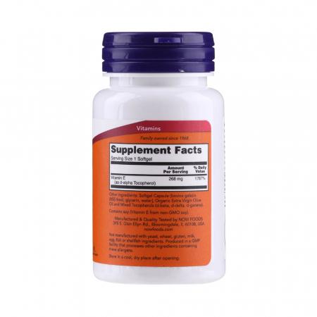 Vitamin E-400 (Mixed Tocopherols) 268 mg, Now Foods, 50 softgels1