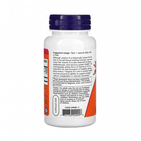 Vitamin K-2, MK-4, 100 mcg, Now Foods, 100 capsule1