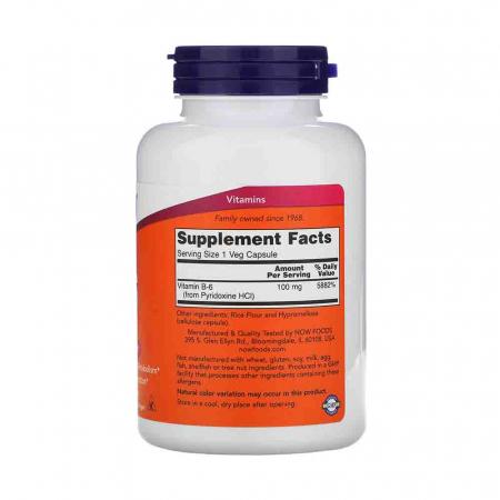 Vitamina B-6 (Piridoxina), 100mg, Now Foods1