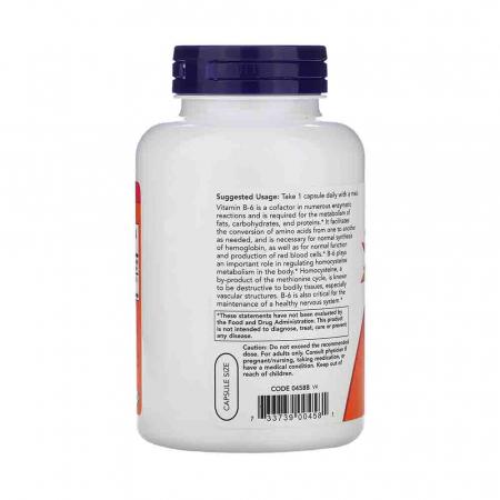 Vitamina B-6 (Piridoxina), 100mg, Now Foods2