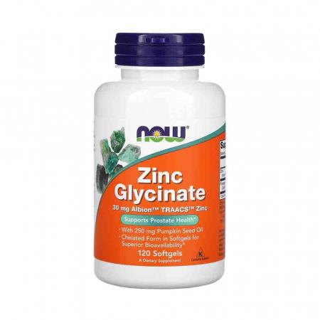 Zinc Glycinate (Glicinat de zinc), Now Foods, 120 softgels0