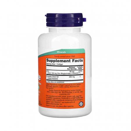 Zinc Glycinate (Glicinat de zinc), Now Foods, 120 softgels2