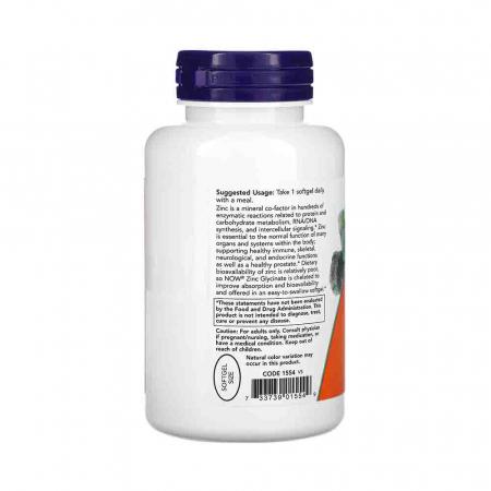 Zinc Glycinate (Glicinat de zinc), Now Foods, 120 softgels1