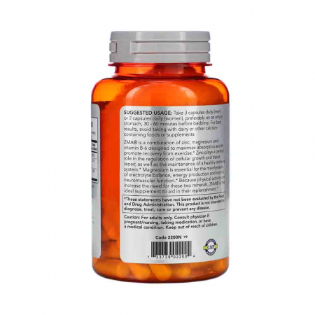 ZMA Sports Recovery (zinc magneziu si B6) Now Foods1