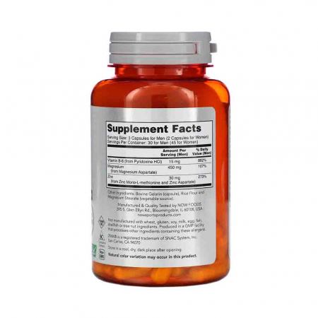 ZMA Sports Recovery (zinc magneziu si B6) Now Foods2