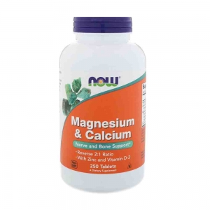 Magneziu Calciu Zinc si vit D, Now Foods, 250 tablete0