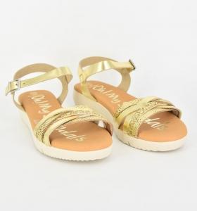 Sandale confortabile cu catarama EXS0665 Auriu