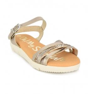 Sandale confortabile cu catarama OMS 4312 Bej
